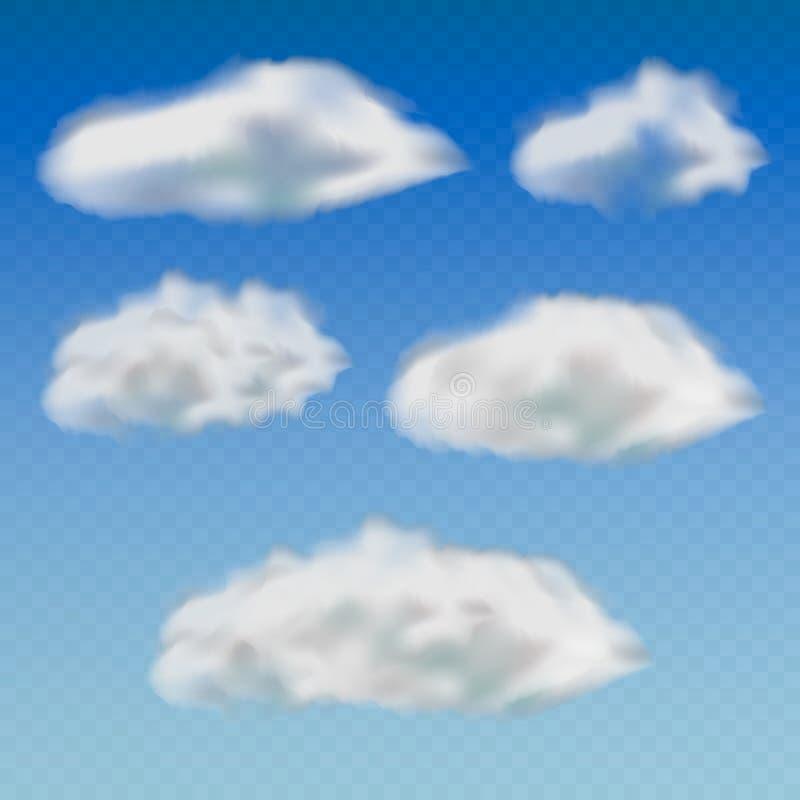 Insieme delle nuvole differenti trasparenti Isolato su fondo trasparente Illustrazione di vettore illustrazione vettoriale