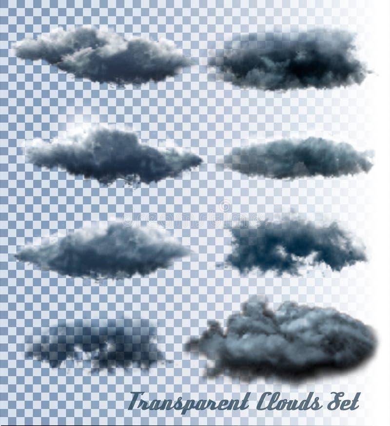 Insieme delle nuvole e del fumo trasparenti royalty illustrazione gratis