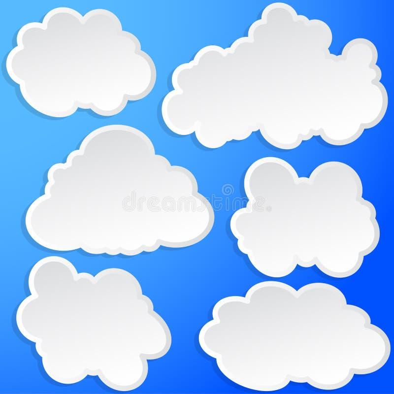 Insieme delle nuvole nel cielo illustrazione di stock