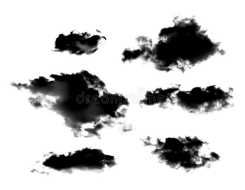 Insieme delle nuvole nere o del fumo isolato su fondo bianco fotografie stock