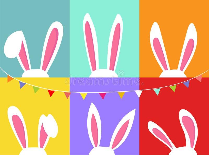 Insieme delle orecchie del coniglietto di pasqua, con la stamina della bandiera del partito, fondo variopinto illustrazione vettoriale
