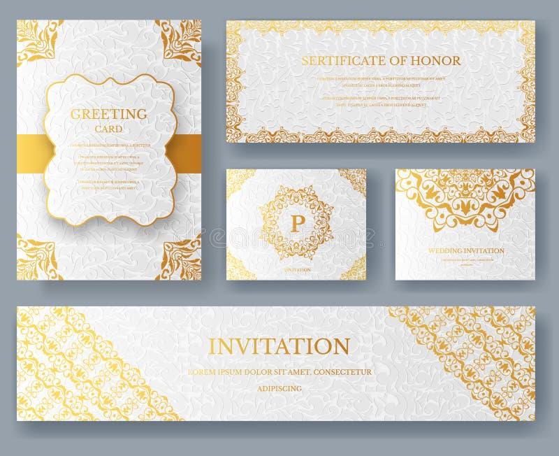 Insieme delle pagine artistiche dell'oro di lusso del Ramadan con il modello dell'opuscolo di logo Identità d'annata di arte, flo illustrazione vettoriale