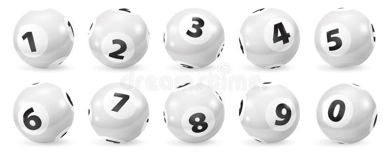 Insieme delle palle in bianco e nero di numero di lotteria 0-9 illustrazione di stock