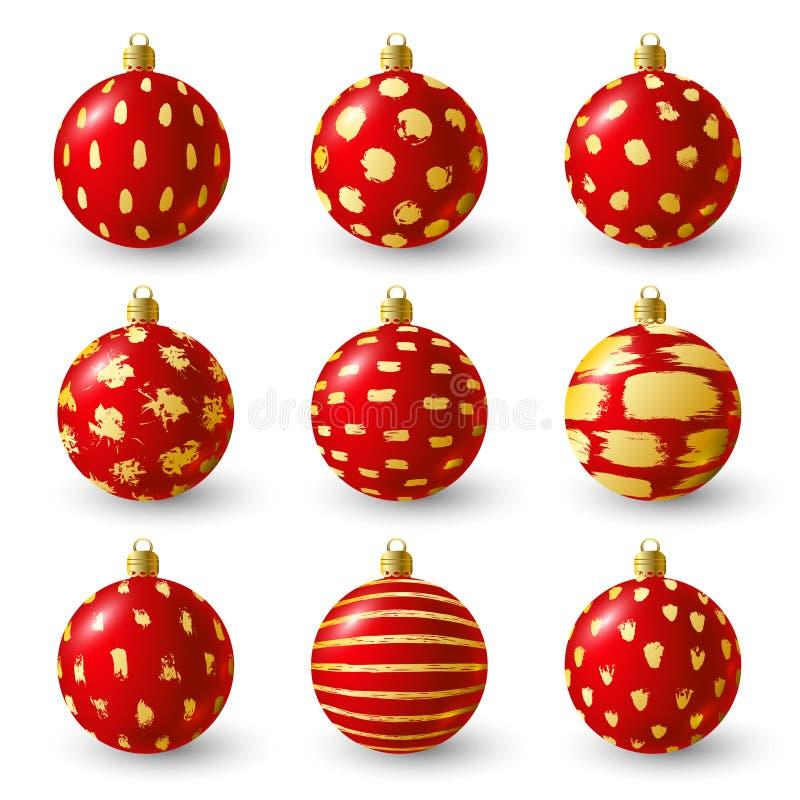 Insieme delle palle di Natale con struttura dorata della pittura royalty illustrazione gratis