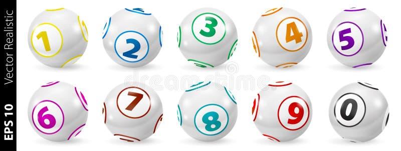 Insieme delle palle di numero colorate lotteria 0-9 royalty illustrazione gratis