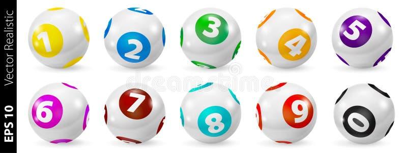 Insieme delle palle di numero colorate lotteria 0-9 illustrazione vettoriale