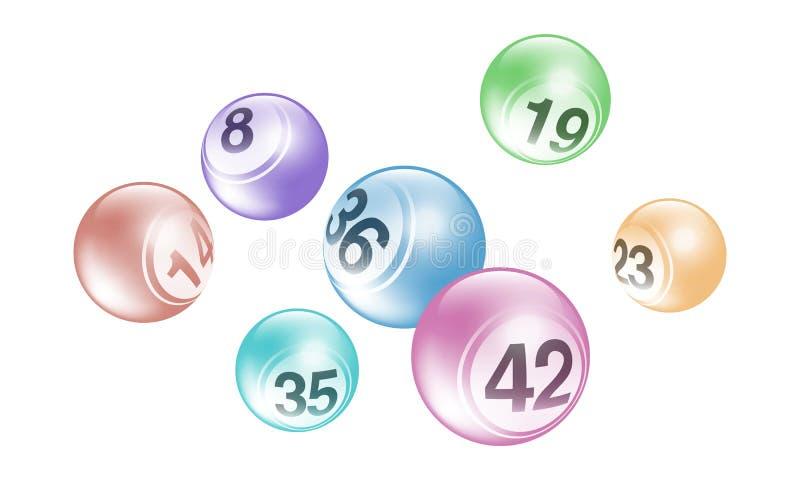 Insieme delle palle di numero di lotteria di bingo della perla di vettore illustrazione vettoriale
