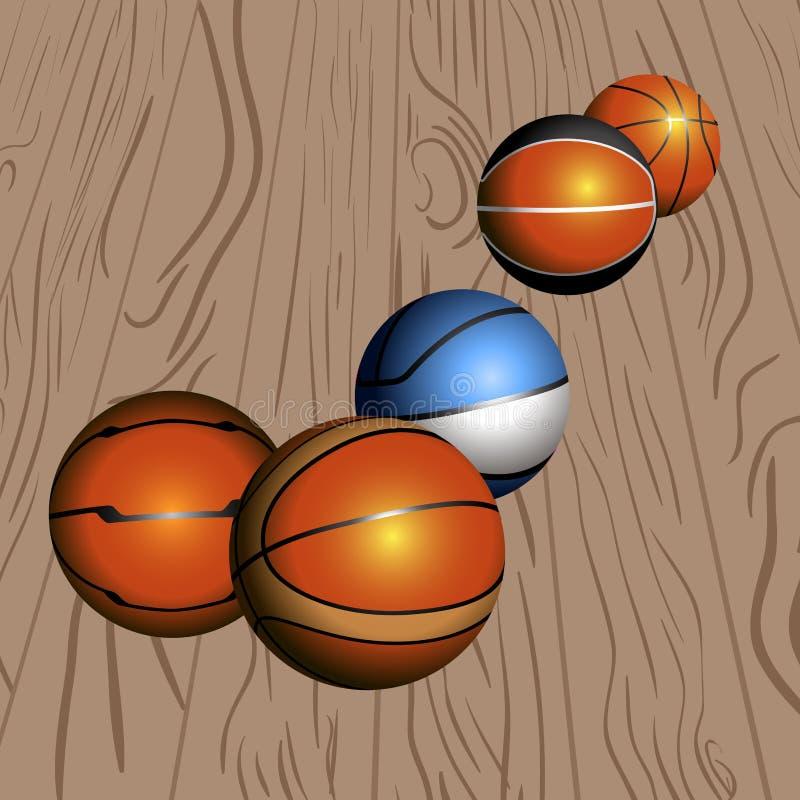 Insieme delle palle di pallacanestro illustrazione di stock