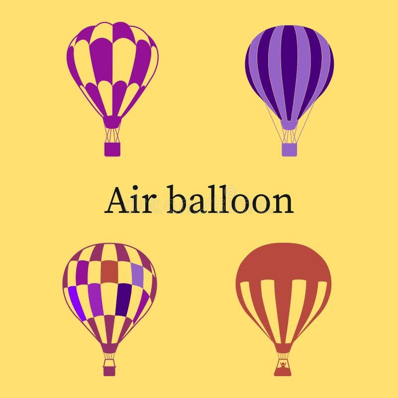 Insieme delle palle porpora e del colore ultravioletto, siluetta illustrazione di stock
