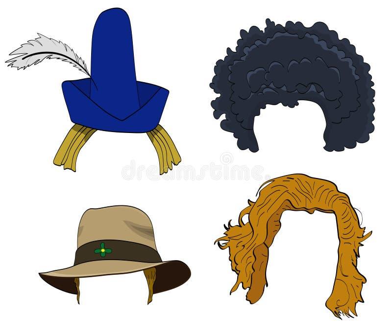Insieme delle parrucche con i cappelli illustrazione vettoriale