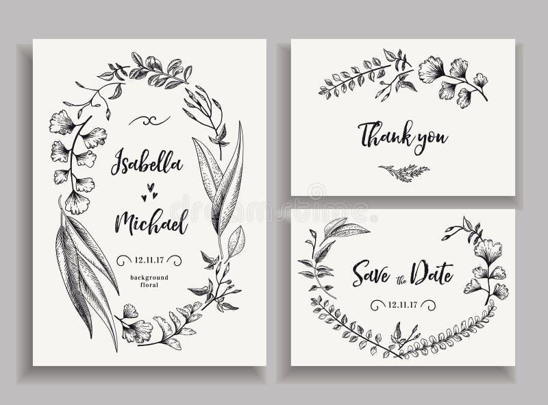 Insieme delle partecipazioni di nozze con le foglie e le erbe royalty illustrazione gratis