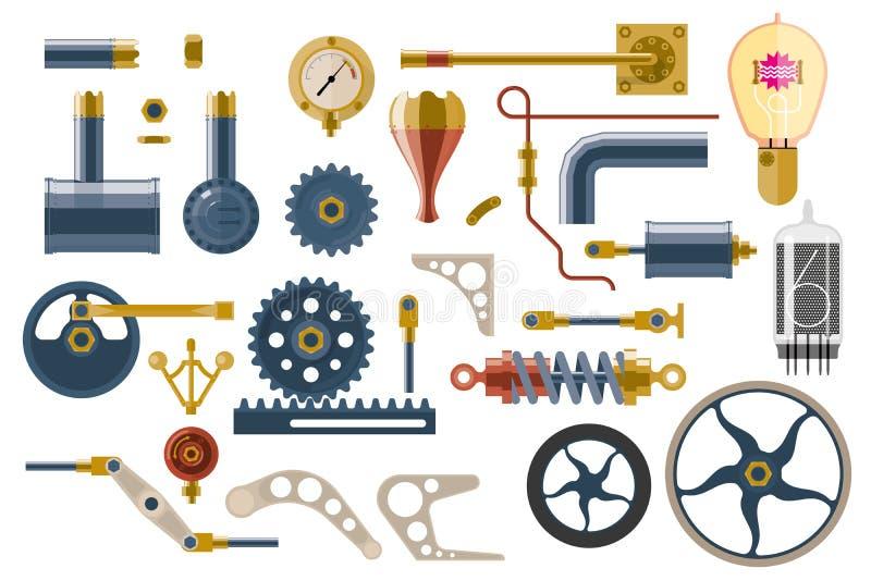 Insieme delle parti e delle componenti del meccanismo a macchina illustrazione di stock