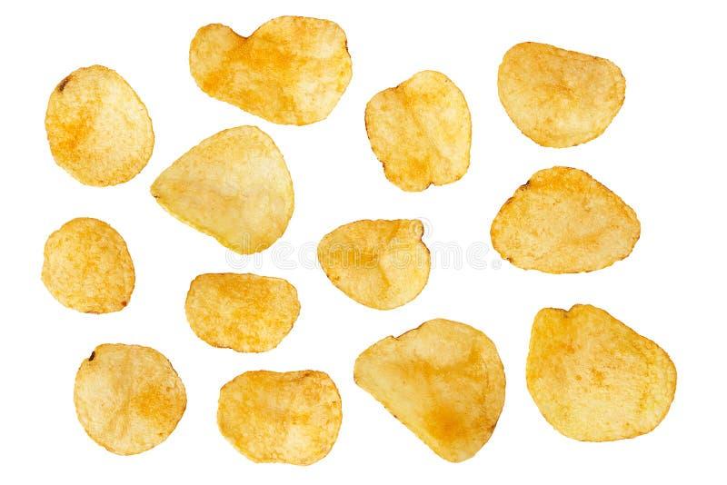 Insieme delle patatine fritte isolate su fondo bianco fotografia stock libera da diritti