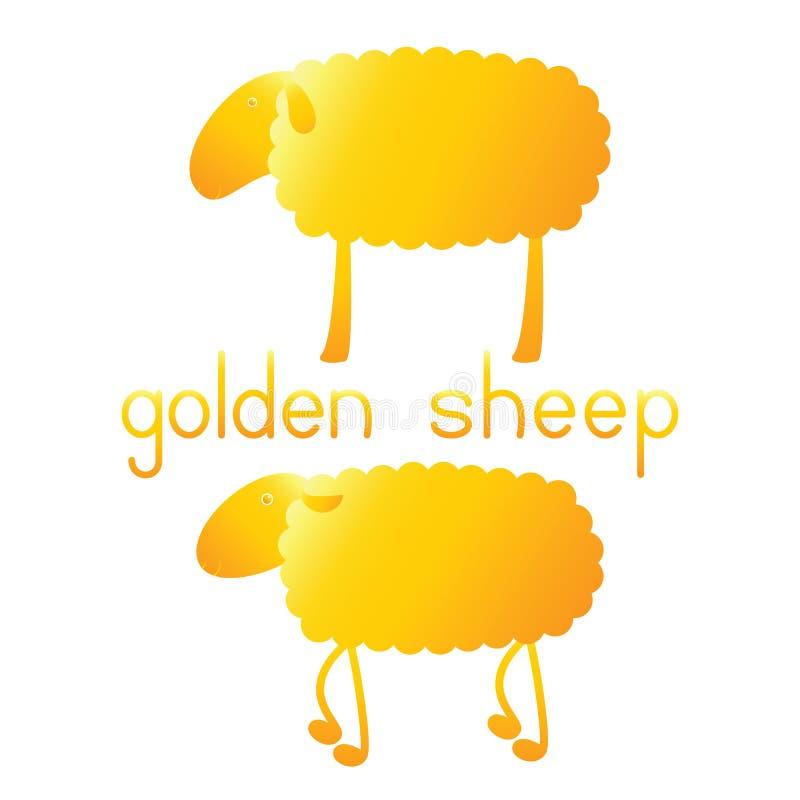 Insieme delle pecore dorate royalty illustrazione gratis