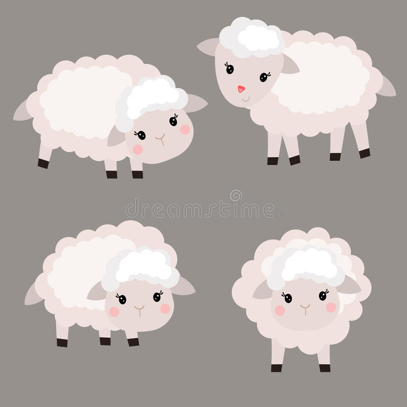 Insieme delle pecore sveglie illustrazione di stock