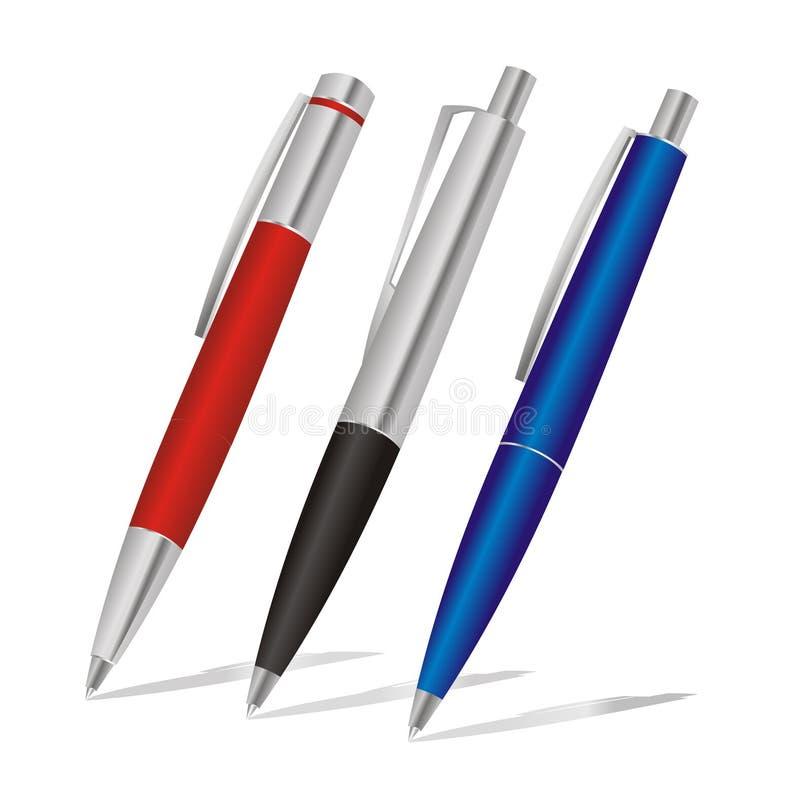 Insieme delle penne colorate illustrazione vettoriale