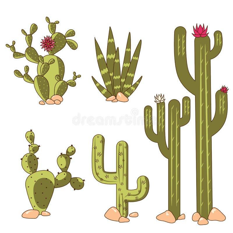 Insieme delle piante del cactus del deserto fra la pietra Illustrazione di vettore del fumetto fotografie stock