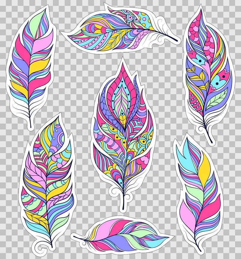 Insieme delle piume variopinte royalty illustrazione gratis