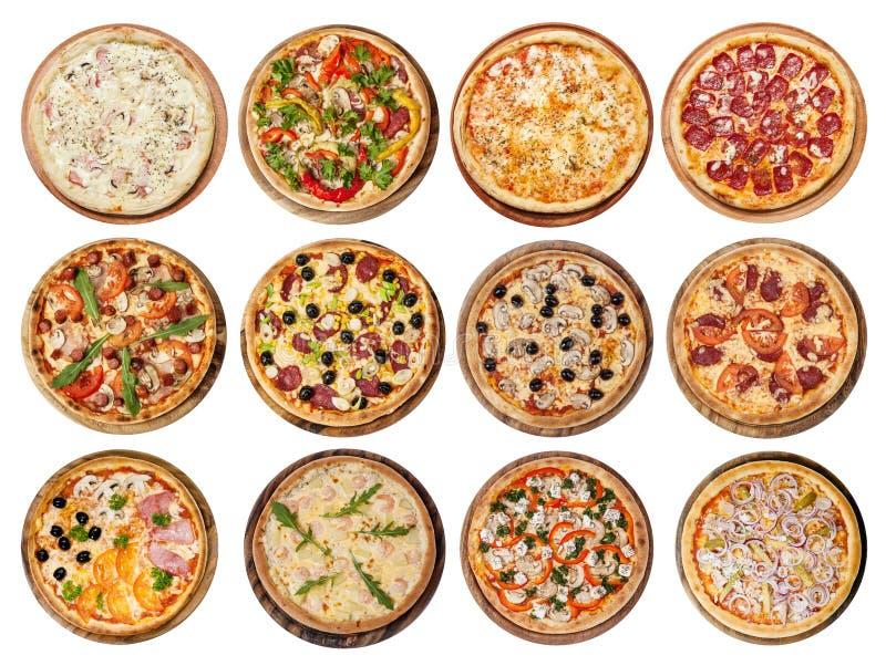 Insieme delle pizze differenti immagini stock libere da diritti