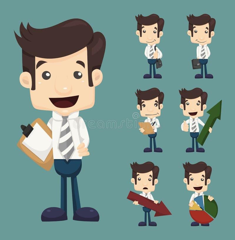 Insieme delle pose dei caratteri dell'uomo d'affari con i grafici illustrazione di stock