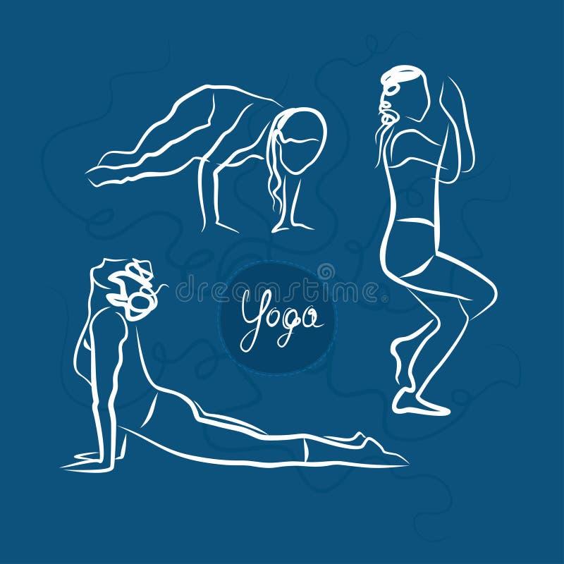 Insieme delle pose di yoga Priorità bassa per una scheda dell'invito o una congratulazione illustrazione vettoriale