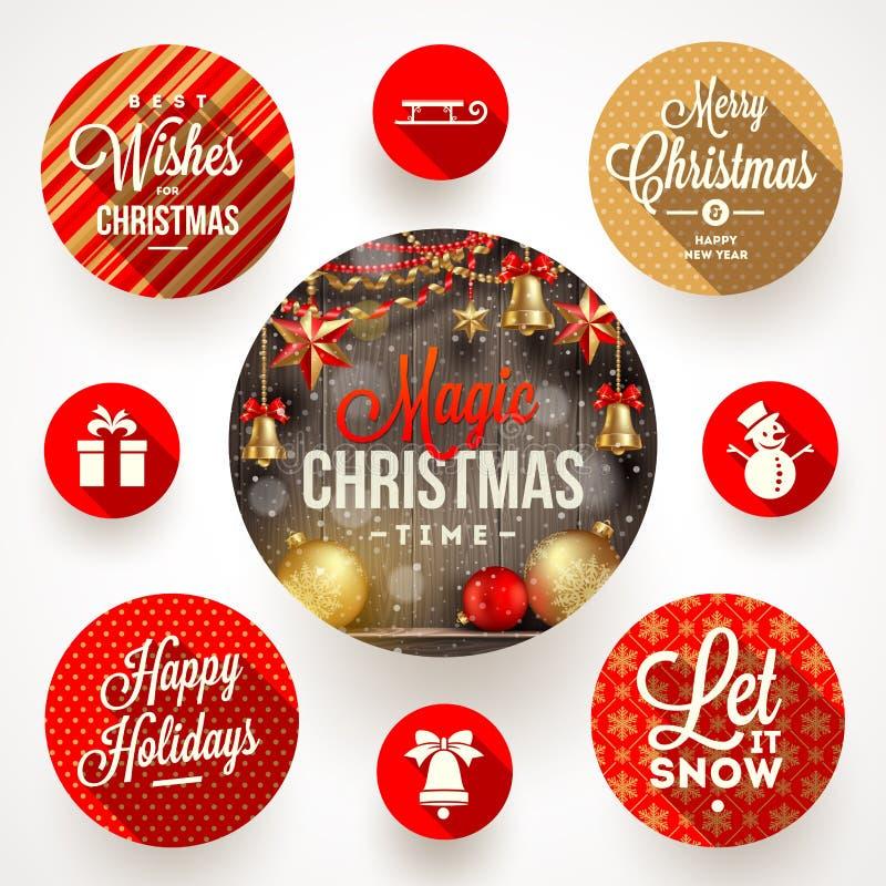 Insieme delle progettazioni di Natale illustrazione di stock