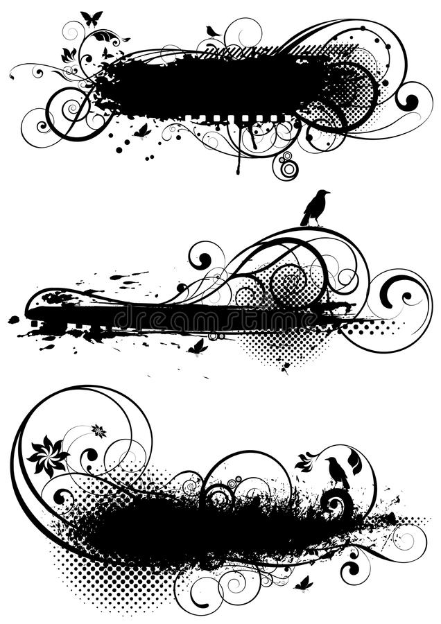 Insieme delle progettazioni floreali di lerciume illustrazione di stock