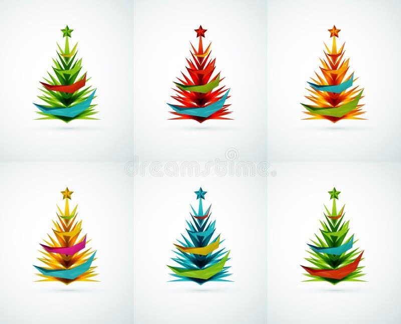 Insieme delle progettazioni geometriche dell'albero di Natale illustrazione di stock