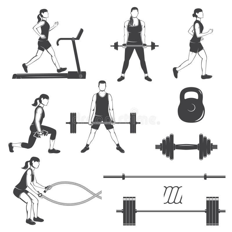 Insieme delle ragazze di forma fisica con la siluetta delle attrezzature di forma fisica illustrazione di stock