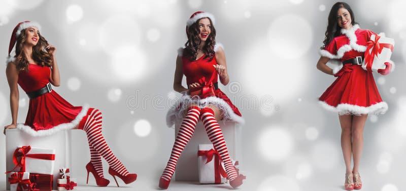 Insieme delle ragazze di Santa immagini stock