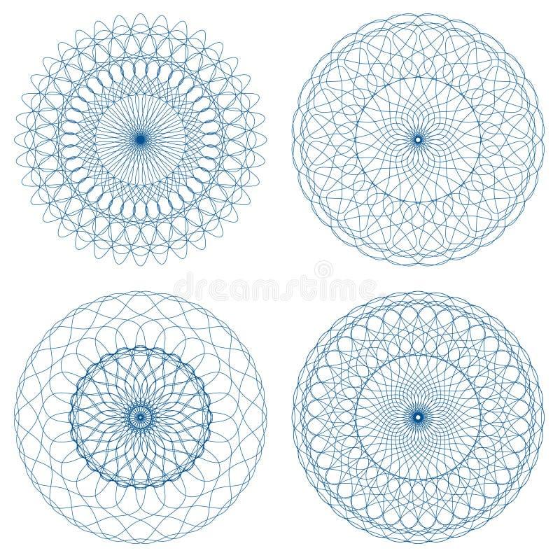 Insieme delle rosette della rabescatura di vettore illustrazione vettoriale