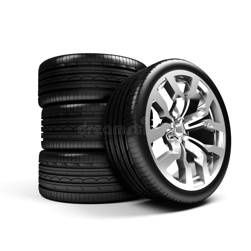 Insieme delle rotelle di automobile sopra bianco illustrazione vettoriale