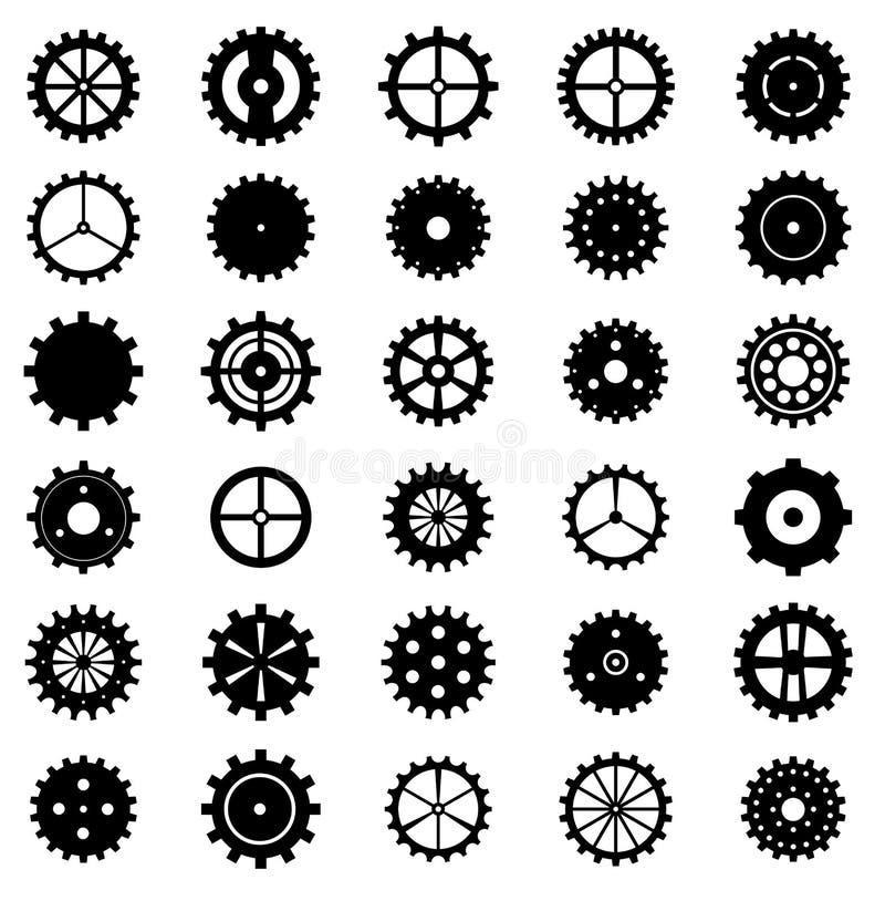 Insieme delle ruote di ingranaggio, illustrazione di vettore illustrazione vettoriale