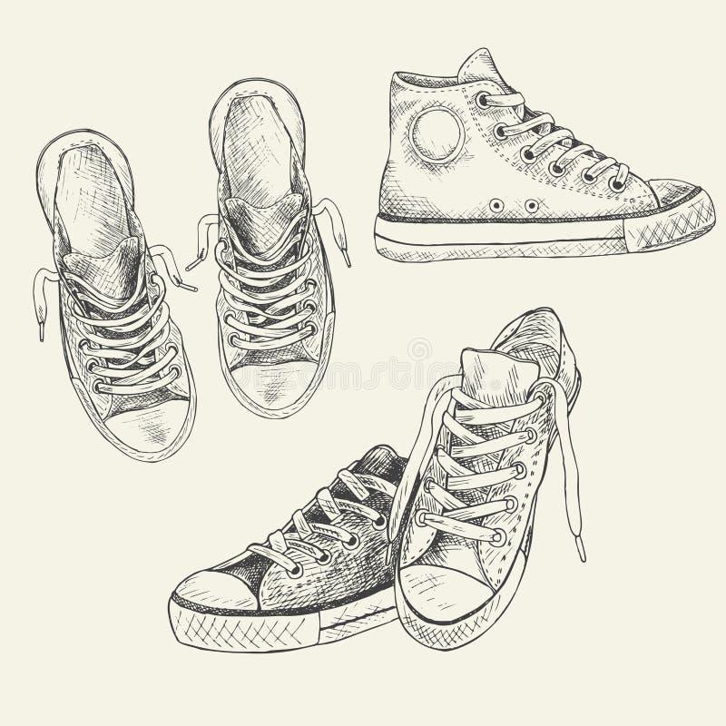 Insieme delle scarpe da tennis sui precedenti bianchi assorbiti uno stile di schizzo gumshoes royalty illustrazione gratis