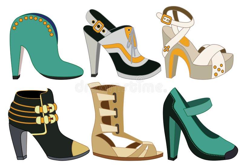 Insieme delle scarpe delle donne royalty illustrazione gratis
