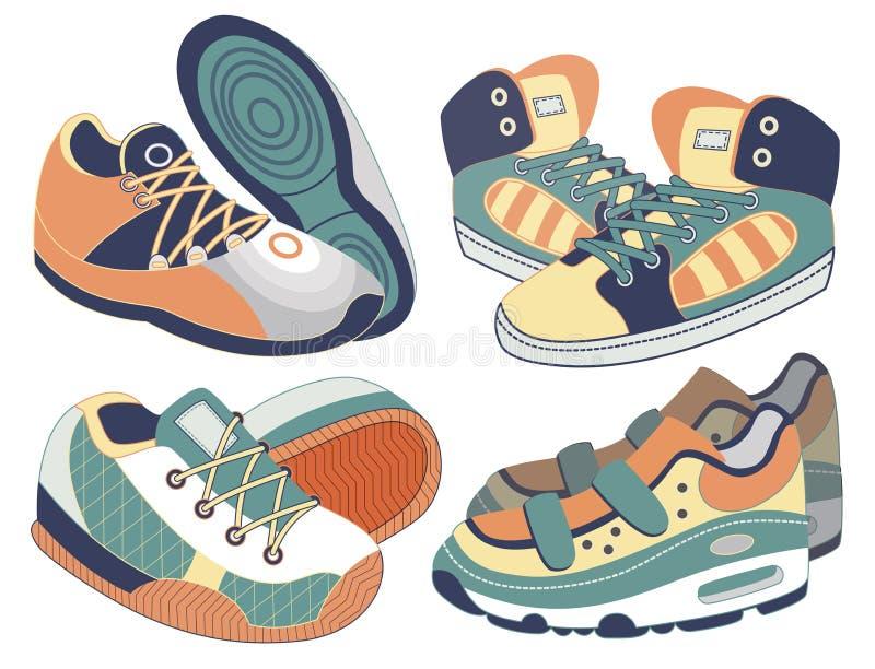 Insieme delle scarpe di sport illustrazione vettoriale