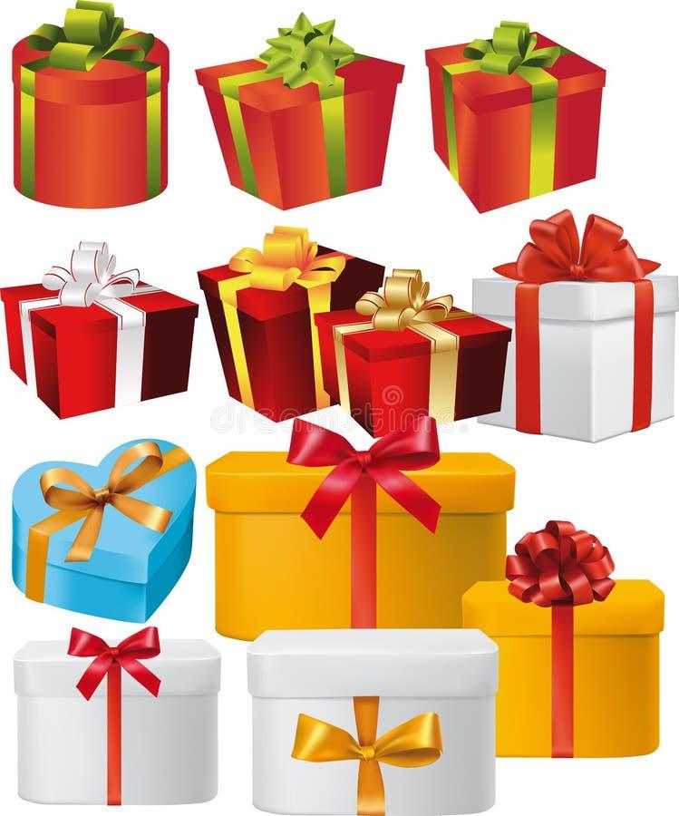 Insieme delle scatole del presente con i nastri e gli archi immagini stock