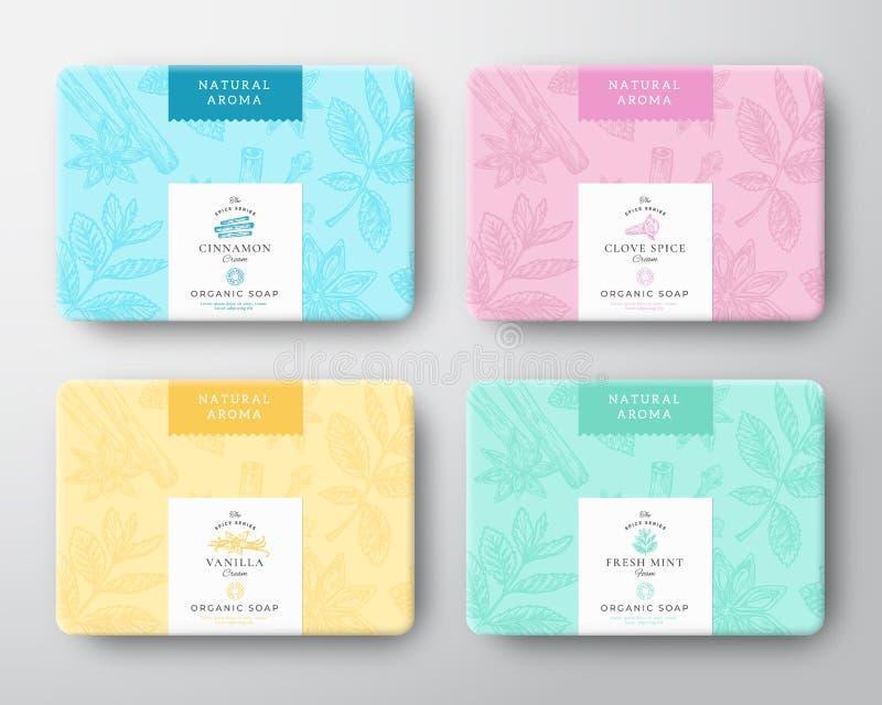 Insieme delle scatole di cartone del sapone della cannella, del chiodo di garofano, della menta e della vaniglia Il vettore astra illustrazione vettoriale