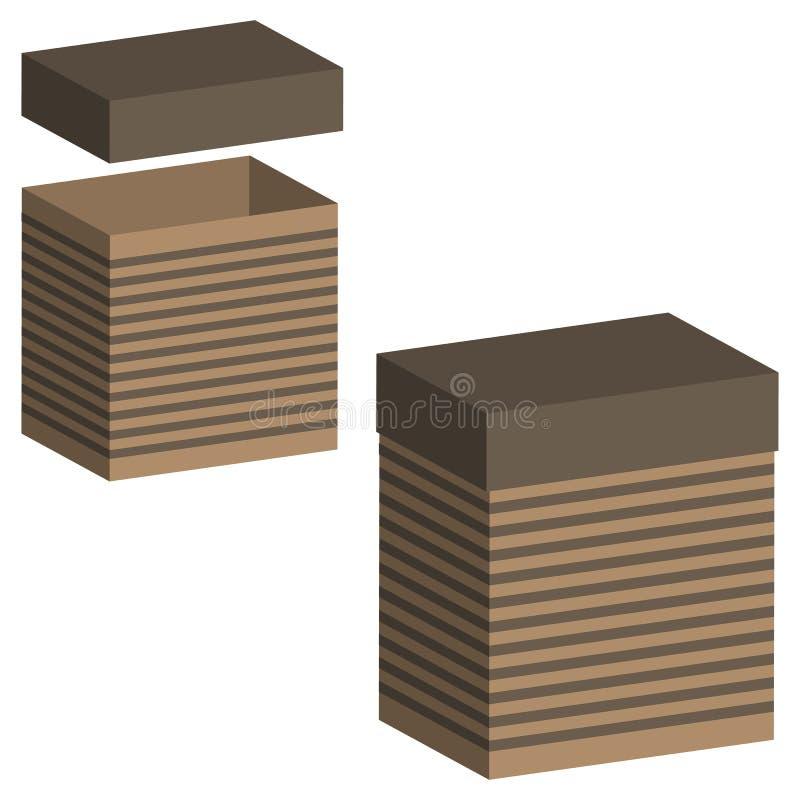 Insieme delle scatole realistiche con il coperchio su fondo bianco illustrazione 3d per progettazione Scatola aperta e chiusa n illustrazione di stock