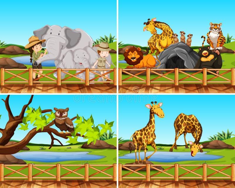 Insieme delle scene degli animali royalty illustrazione gratis