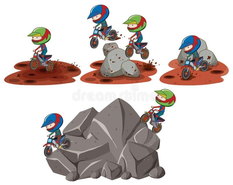 Insieme delle scene dei motorcross royalty illustrazione gratis