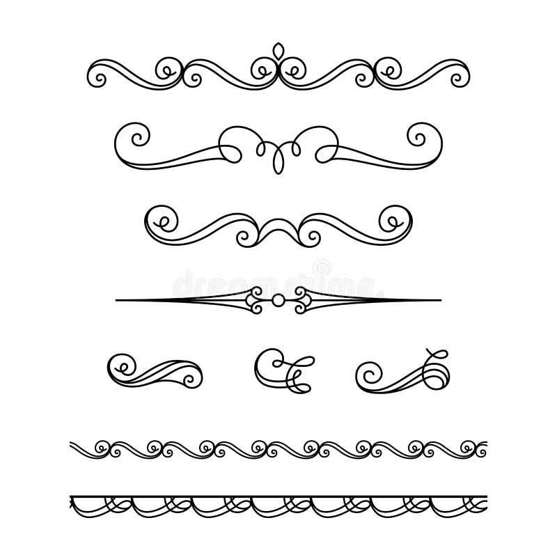 Insieme delle scenette e dei flourishes calligrafici royalty illustrazione gratis
