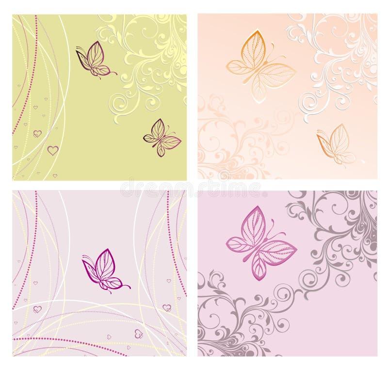 Insieme delle schede con la farfalla illustrazione vettoriale