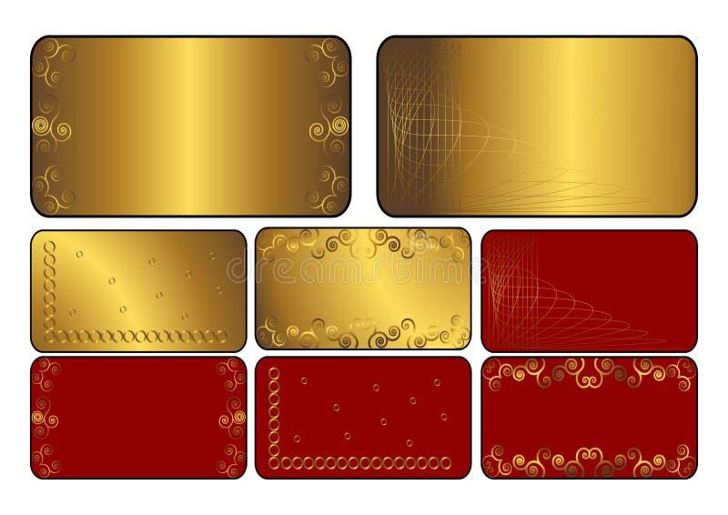 Insieme delle schede dorate e rosse. Vettore. illustrazione di stock
