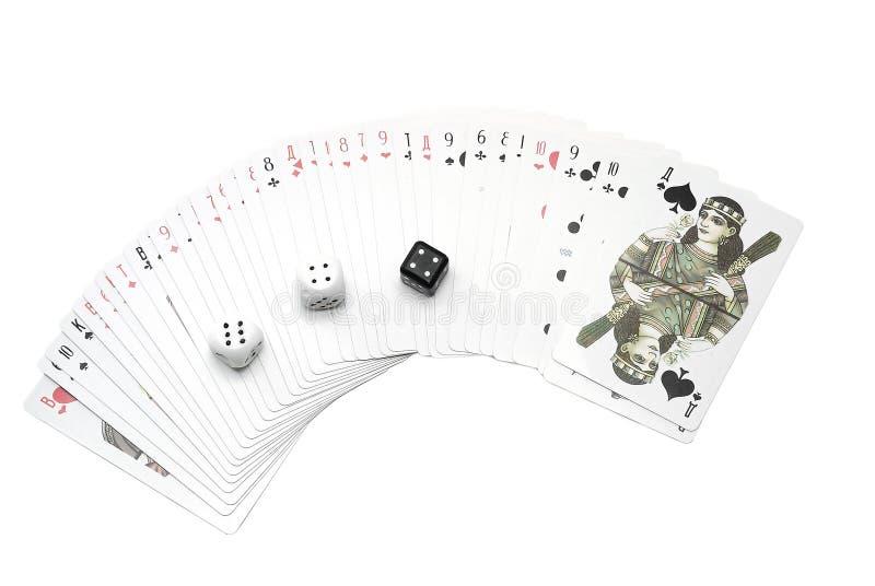 Insieme delle schede e dei dadi di gioco immagini stock