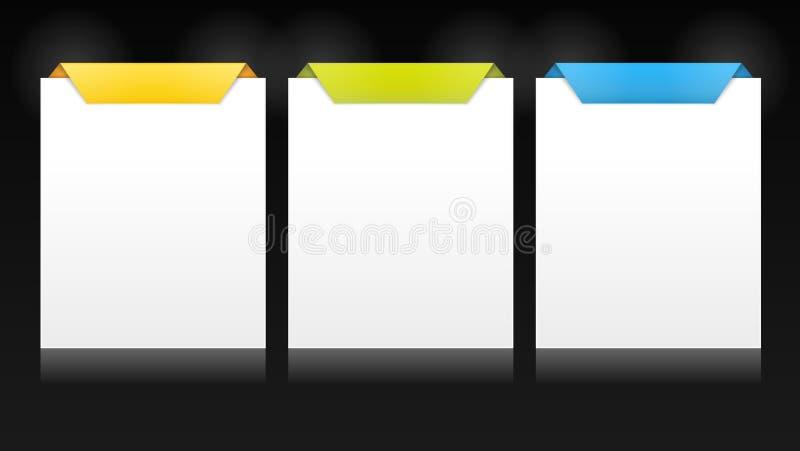 Insieme delle schede verticali di vettore per le opzioni multiple illustrazione di stock