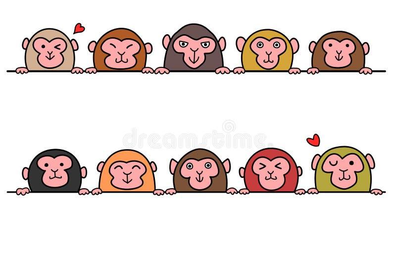 Insieme delle scimmie in una fila con lo spazio della copia illustrazione vettoriale