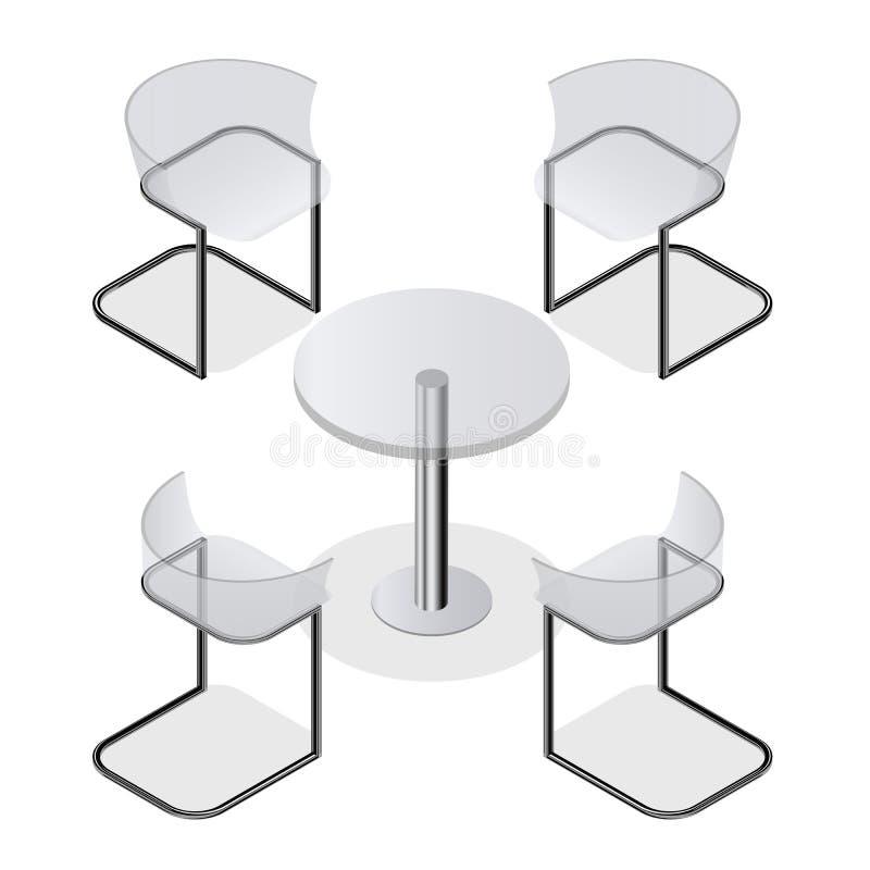 Insieme Delle Sedie Trasparenti E Una Tavola Rotonda Per La