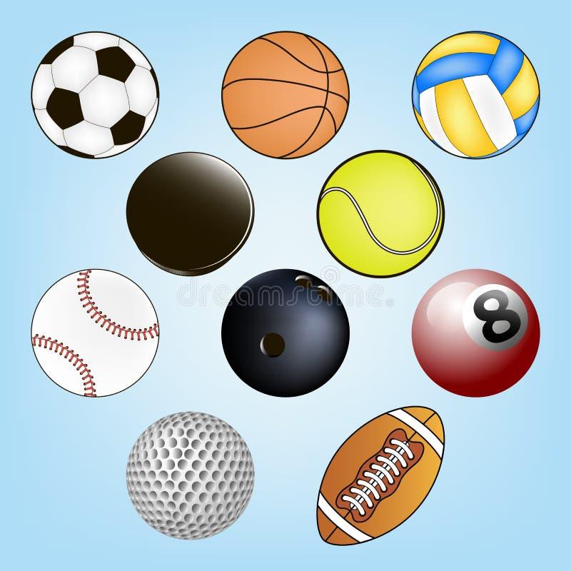 Insieme delle sfere di sport illustrazione vettoriale