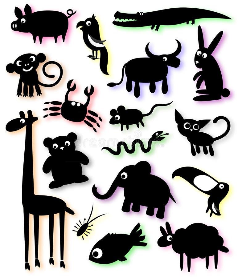 Insieme delle siluette degli animali illustrazione vettoriale